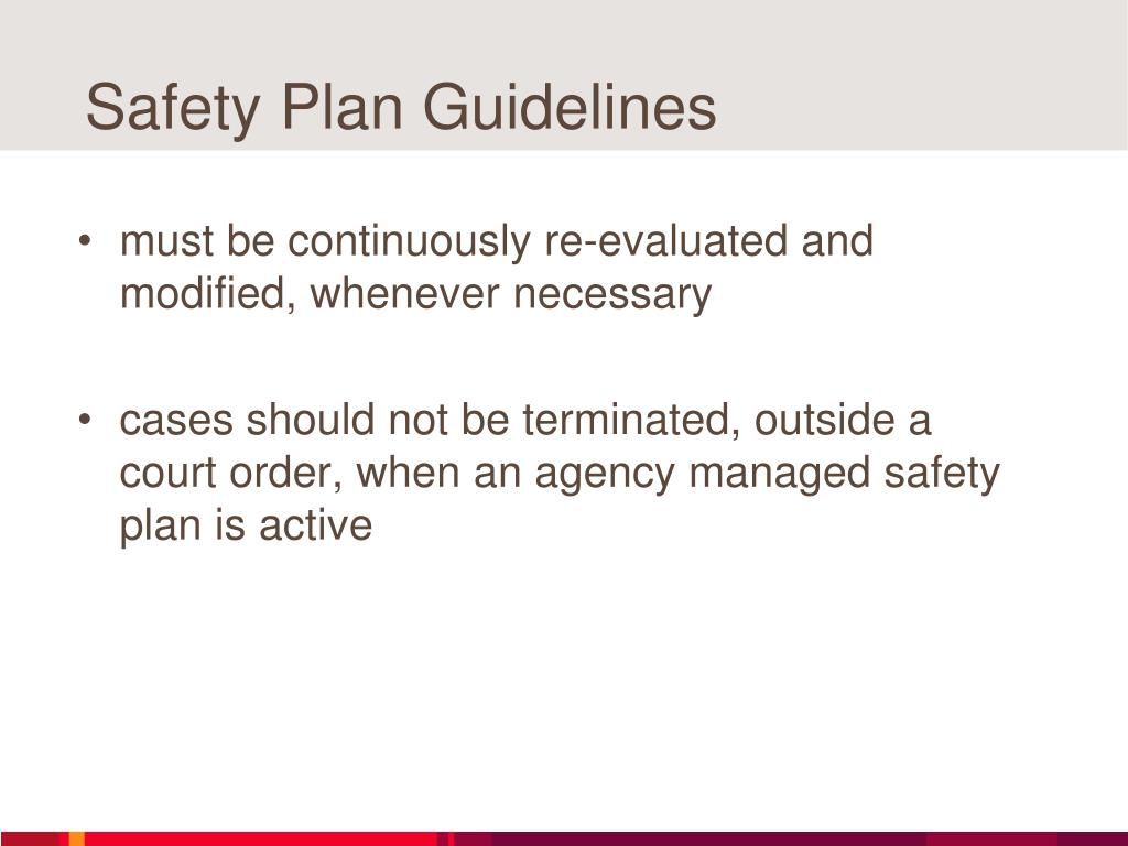 Safety Plan Guidelines