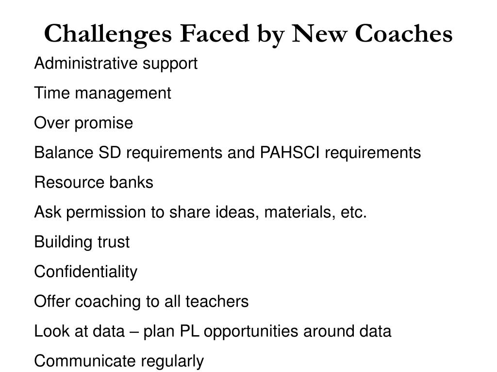 Challenges Faced by New Coaches