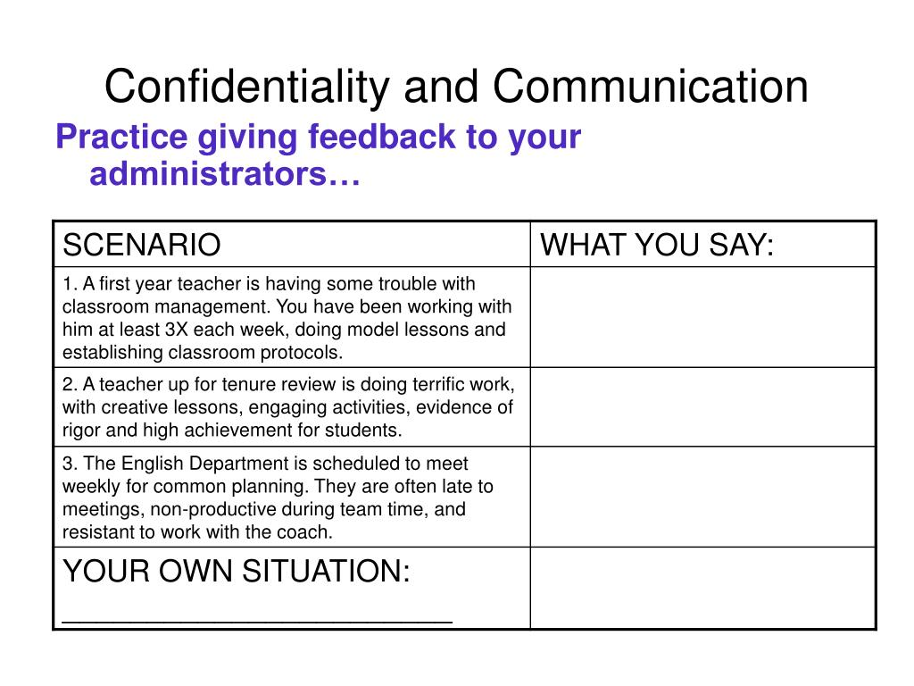Practice giving feedback to your administrators…