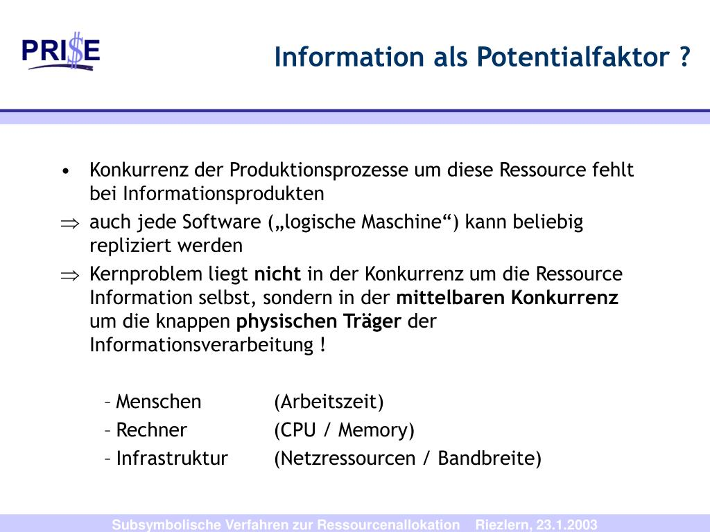 Information als Potentialfaktor ?