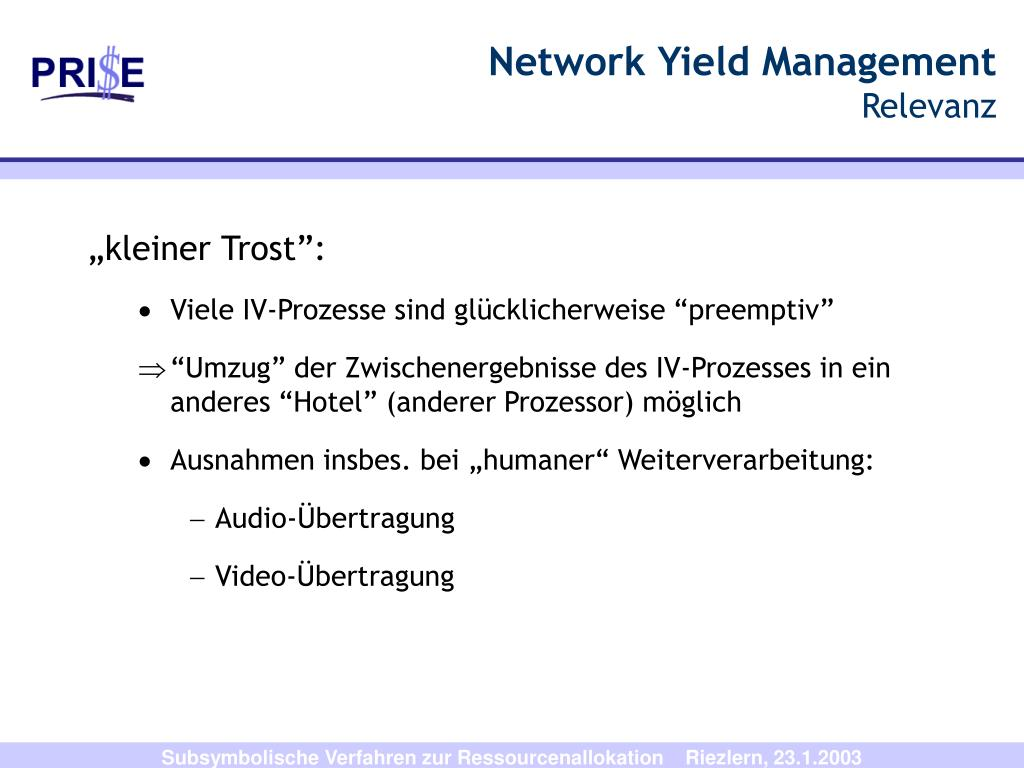 Network Yield Management