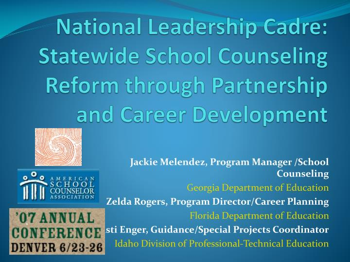 National Leadership Cadre: Statewide School Counseling Reform through Partnership and Career Develop...