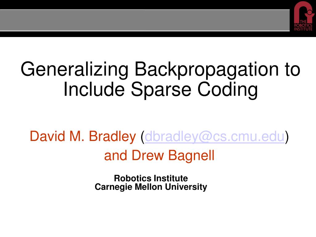 generalizing backpropagation to include sparse coding l.