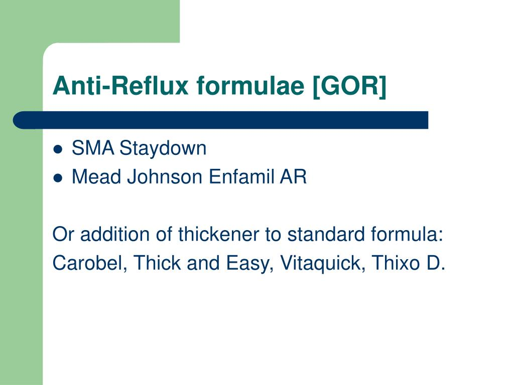 Anti-Reflux formulae [GOR]