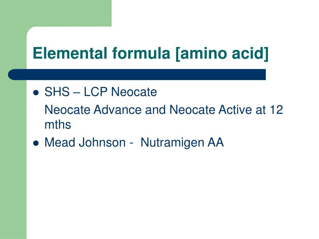 Elemental formula [amino acid]