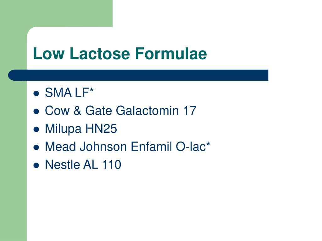 Low Lactose Formulae