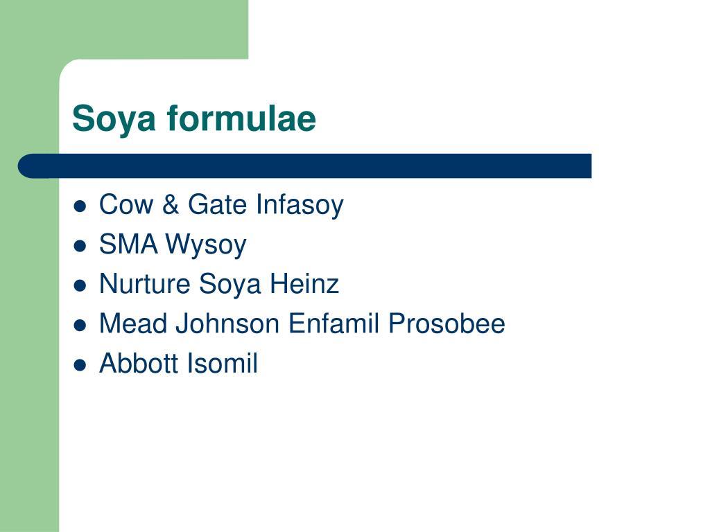 Soya formulae