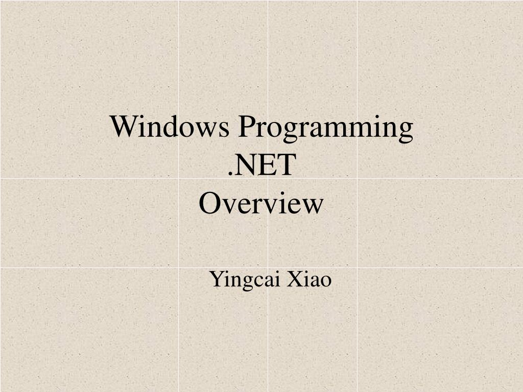 windows programming net overview l.