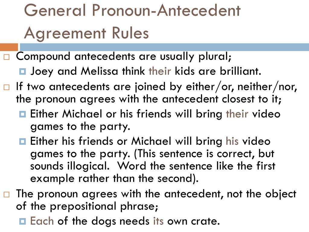 PPT PRONOUNS & PRONOUN ANTECEDENT AGREEMENT PowerPoint