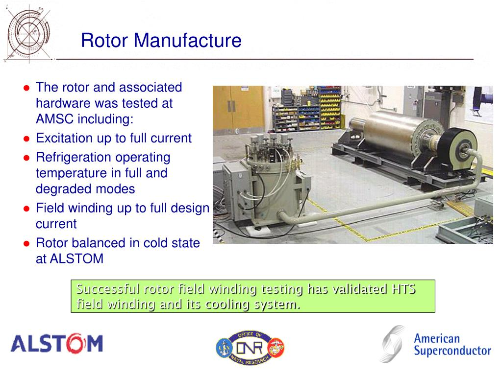 The rotor and associated hardware was tested at AMSC including: