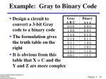 example gray to binary code