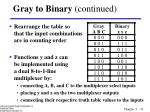 gray to binary continued