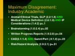 maximum disagreement industry academic