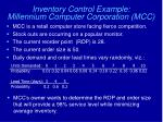 inventory control example millennium computer corporation mcc