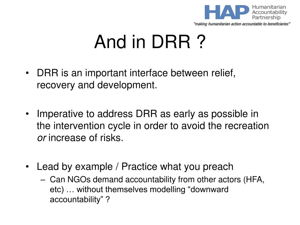 And in DRR ?