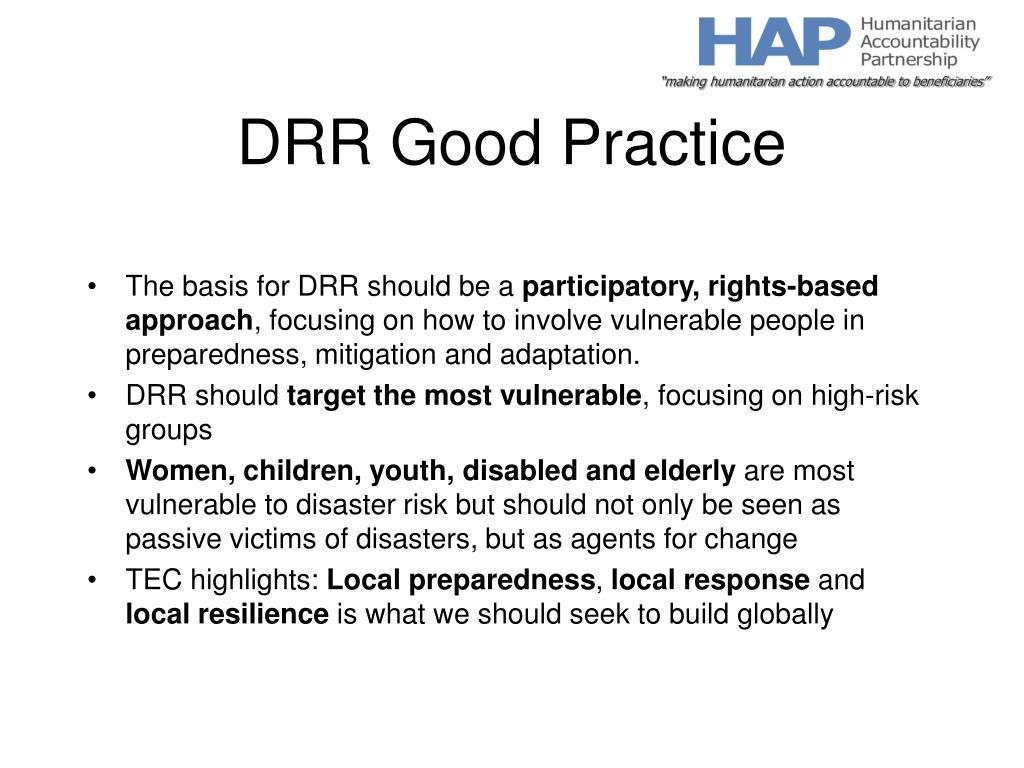 DRR Good Practice