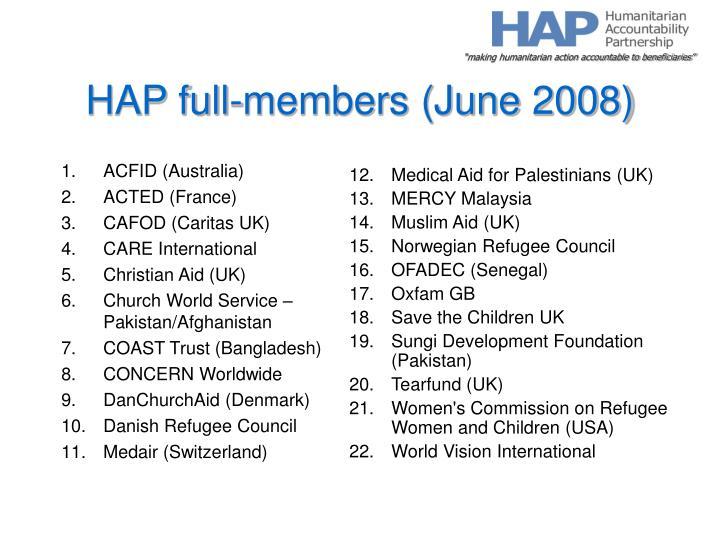 Hap full members june 2008