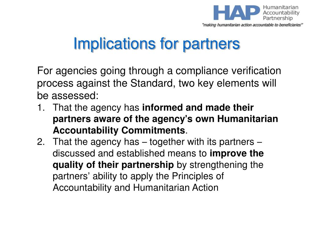Implications for partners
