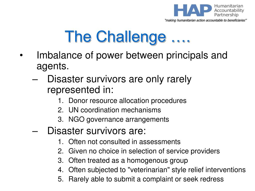 The Challenge ….