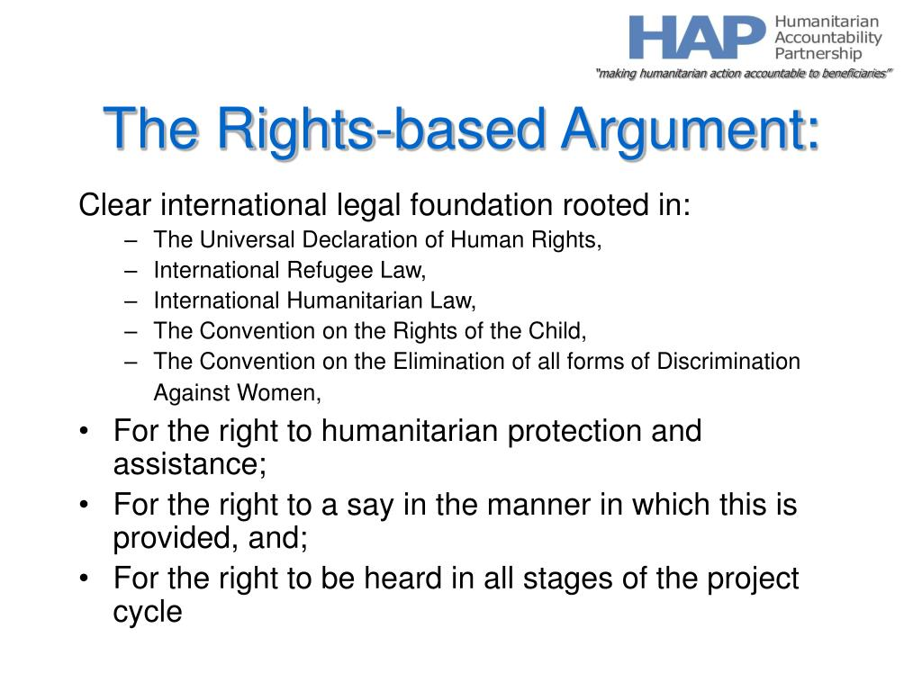 The Rights-based Argument: