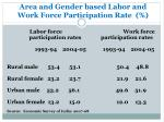 area and gender based labor and work force participation rate