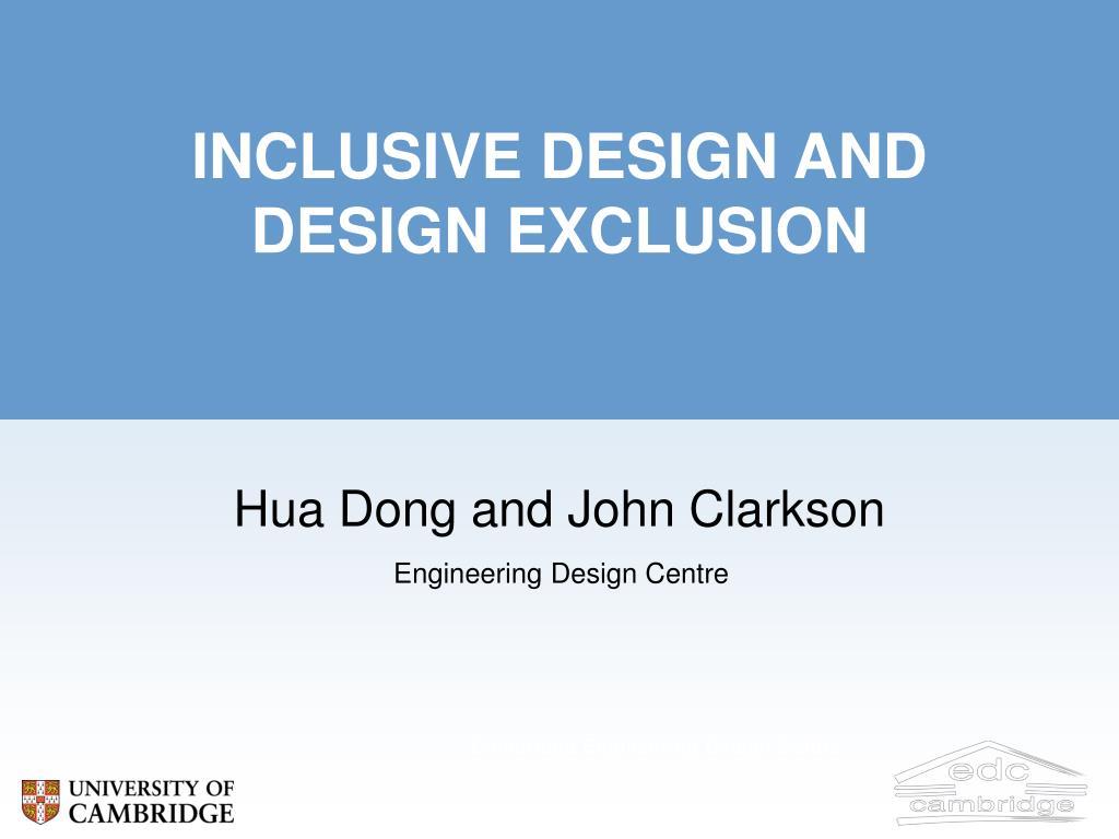 inclusive design and design exclusion l.