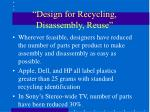 design for recycling disassembly reuse