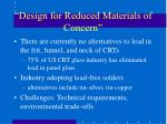design for reduced materials of concern