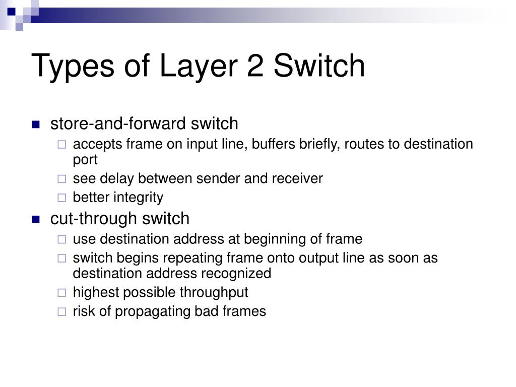 Types of Layer 2 Switch