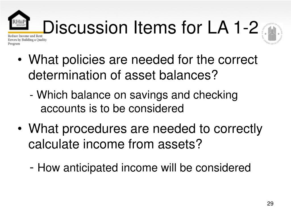 Discussion Items for LA 1-2
