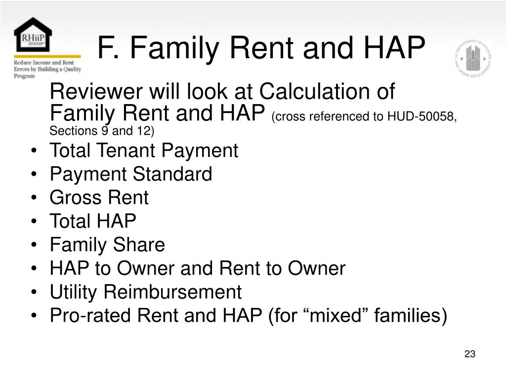 F. Family Rent and HAP