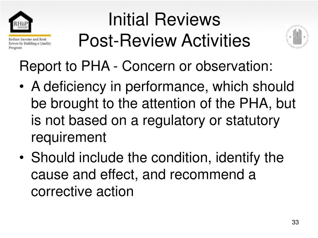 Initial Reviews
