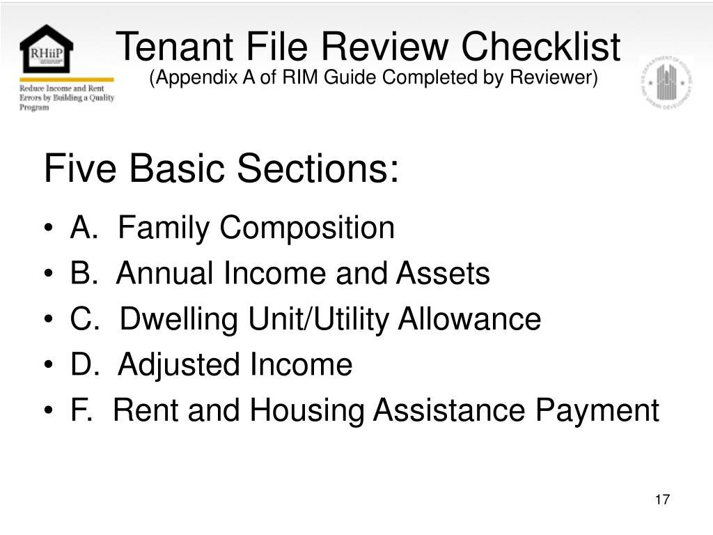 Tenant File Review Checklist