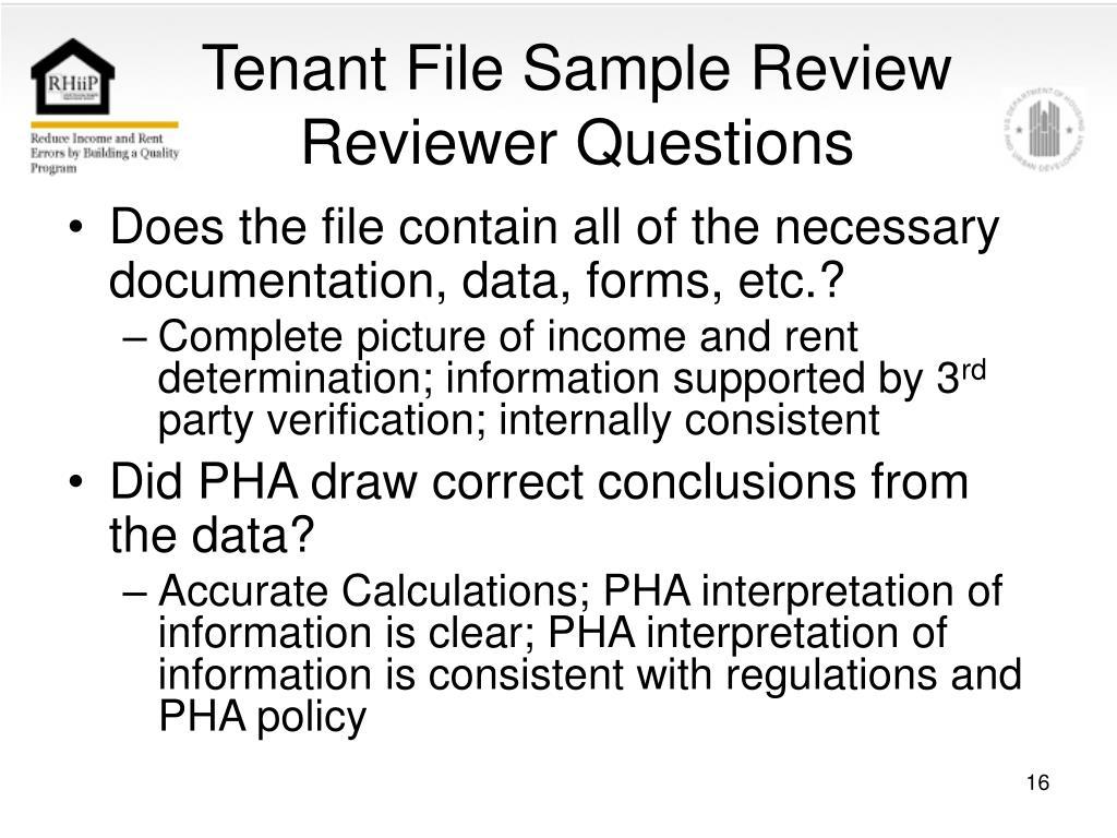 Tenant File Sample Review