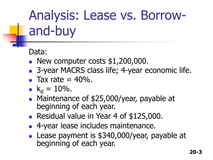 Analysis lease vs borrow and buy