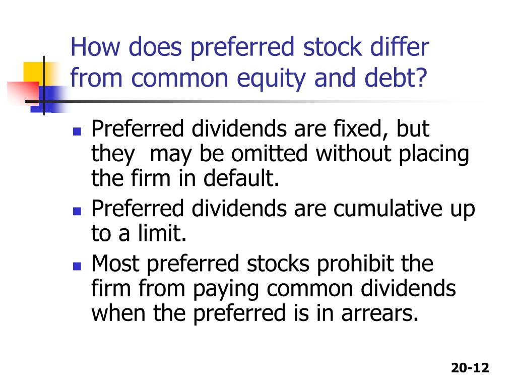 How does preferred stock differ from common equity and debt?