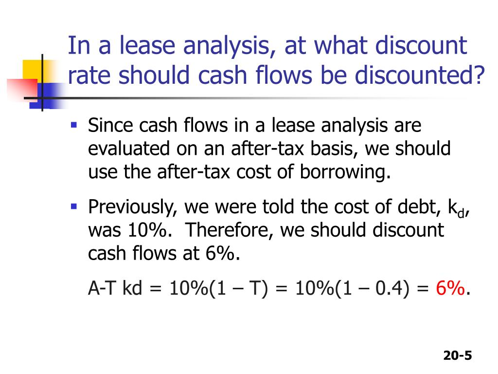 In a lease analysis, at what discount rate should cash flows be discounted?