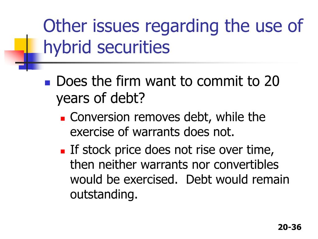 Other issues regarding the use of hybrid securities
