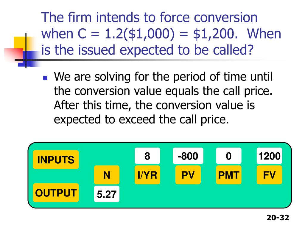 The firm intends to force conversion when C = 1.2($1,000) = $1,200.  When is the issued expected to be called?