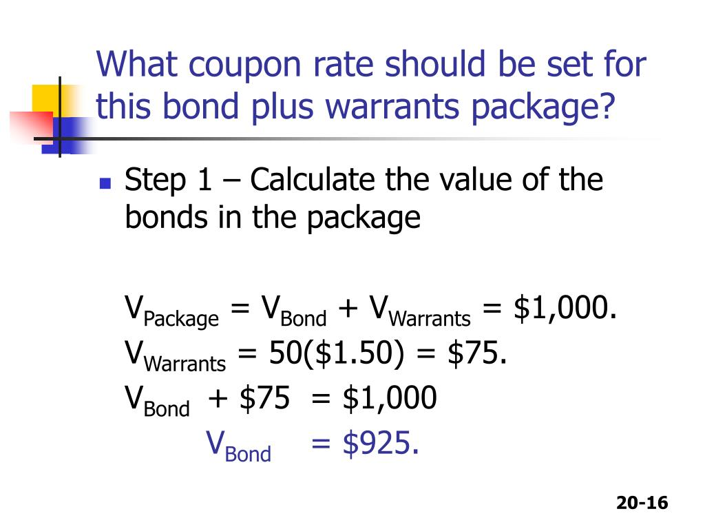 What coupon rate should be set for this bond plus warrants package?