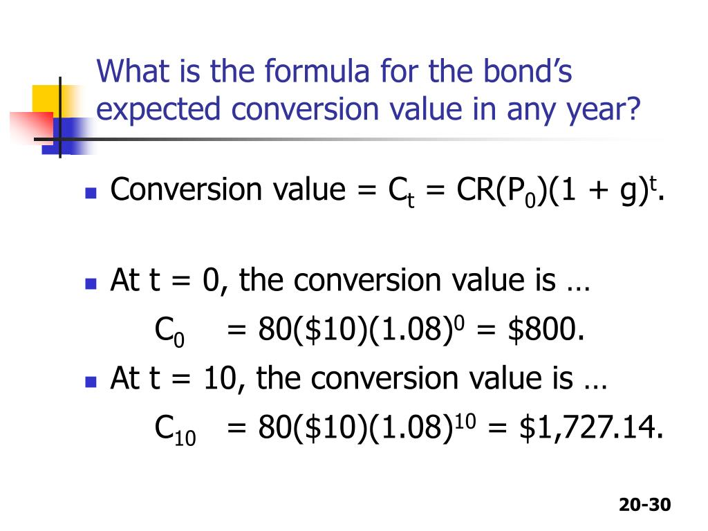 conversion bond formula Demonstrates how to perform bond valuation on a payment date and between payment dates using microsoft excel and its built-in functions.