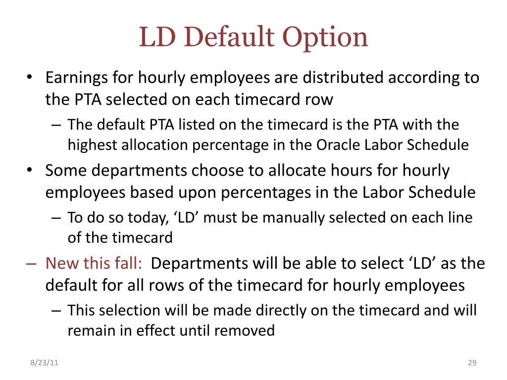 LD Default Option