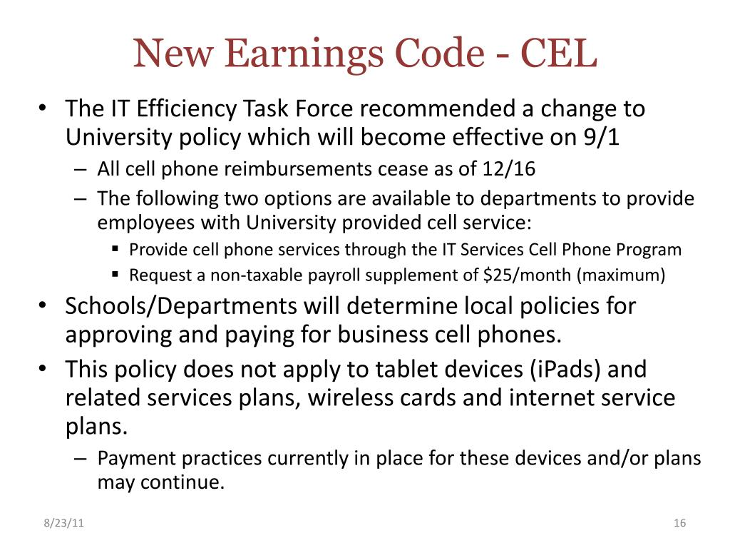 New Earnings Code - CEL
