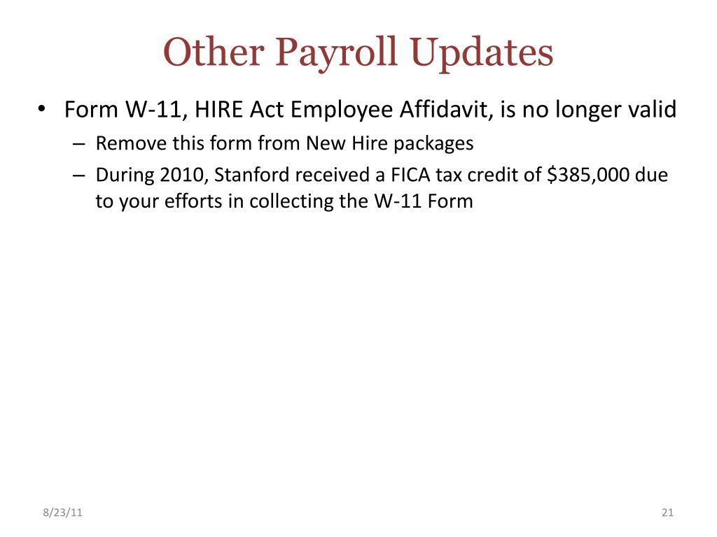 Other Payroll Updates
