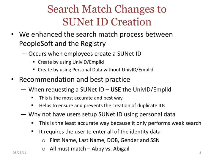 Search match changes to sunet id creation