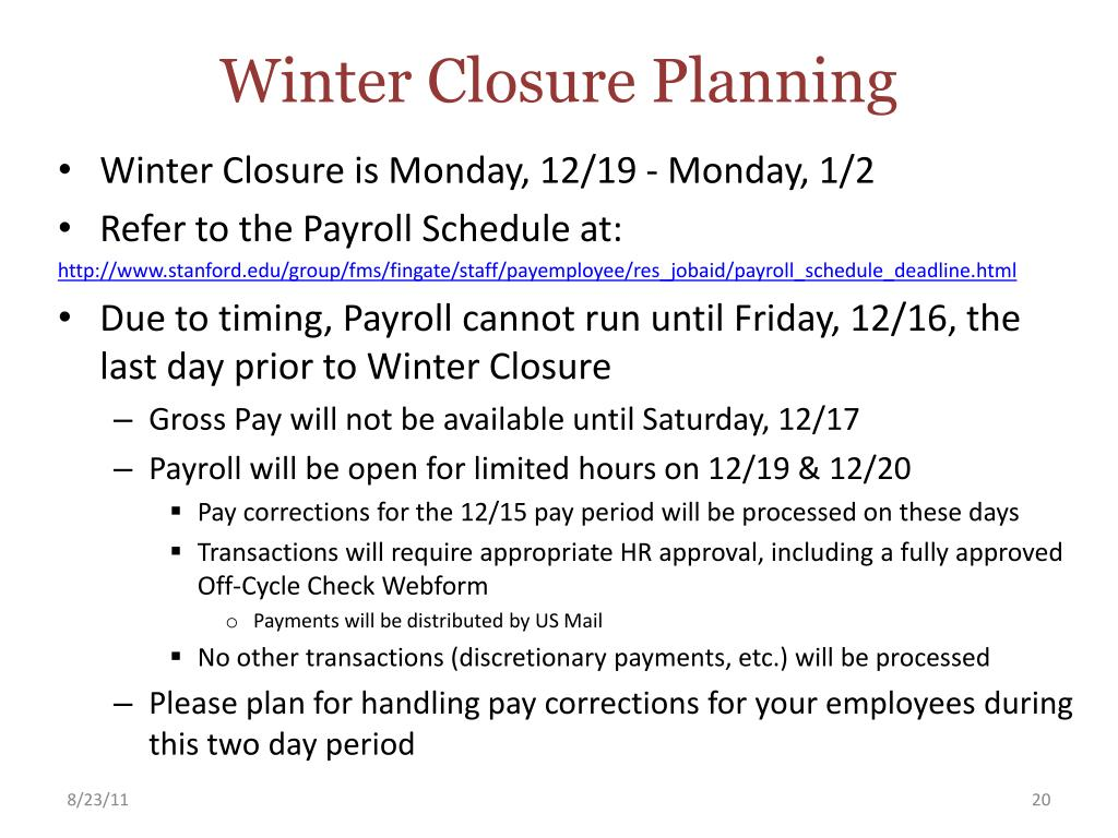 Winter Closure Planning