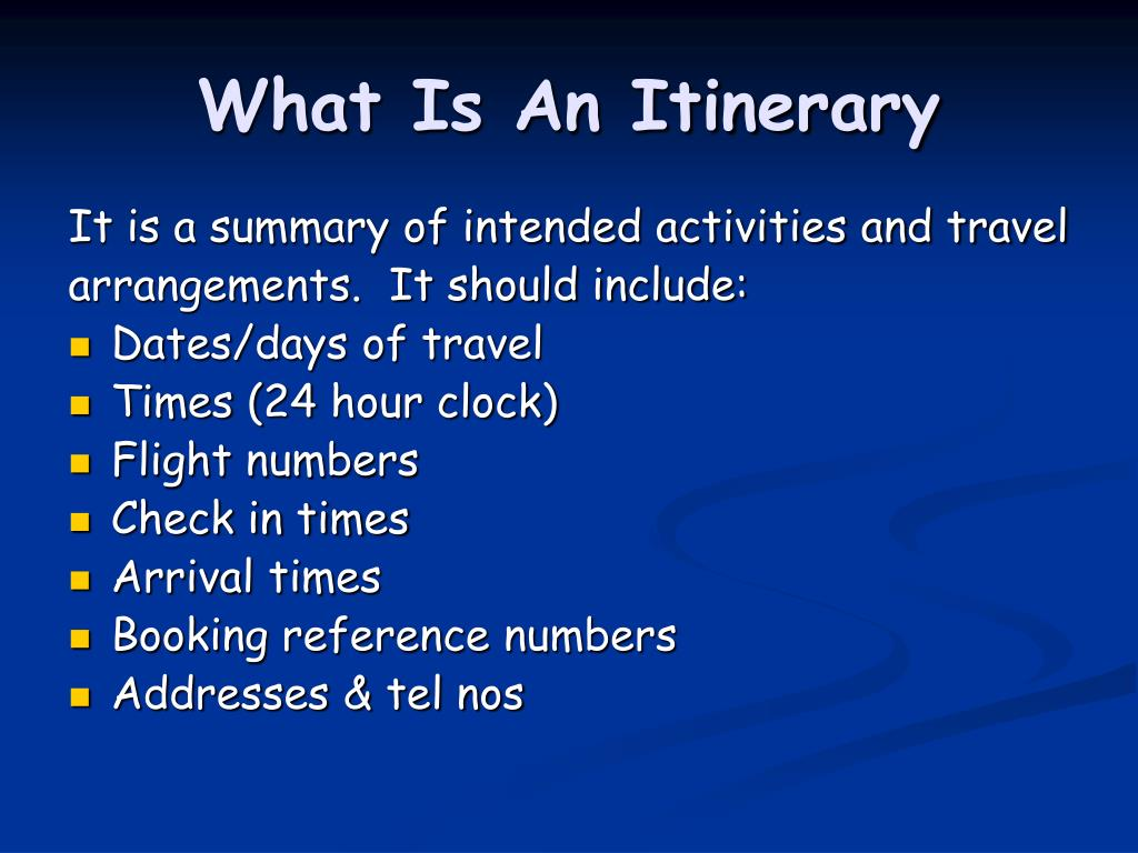 What Is An Itinerary