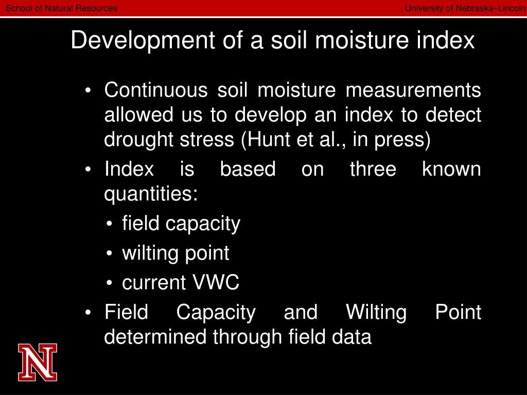 Development of a soil moisture index