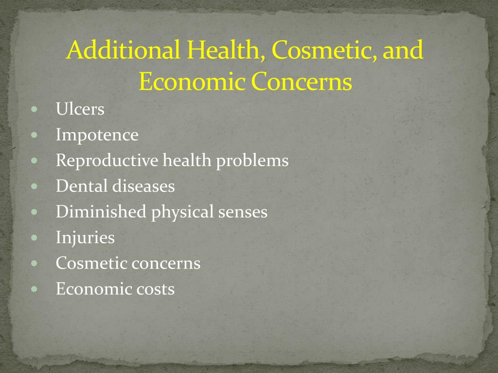 Additional Health, Cosmetic, and Economic Concerns
