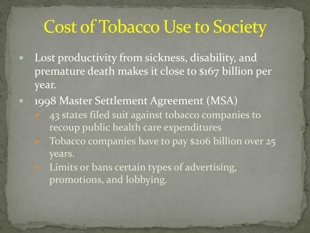 Cost of Tobacco Use to Society